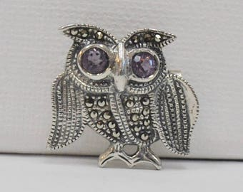 Marcasite Owl with Amethyst Eyes Pin - Sterling Silver