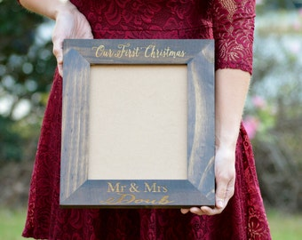 Our First Christmas Frame, Our First Christmas As Mr And Mrs Picture Frame, Rustic Home Decor, Personalized Gift For Newlyweds