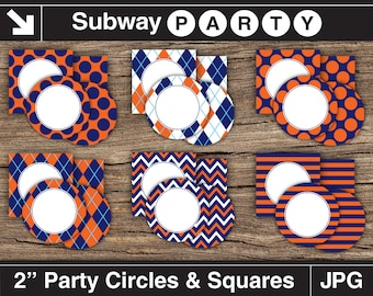 Navy Blue Orange Printable Party Circles and Squares / Cupcake Toppers / Food Buffet Labels, Favor Tags. DIY Editable. INSTANT DOWNLOAD.