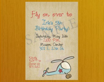 DIY Helicopter Birthday Party Invitation