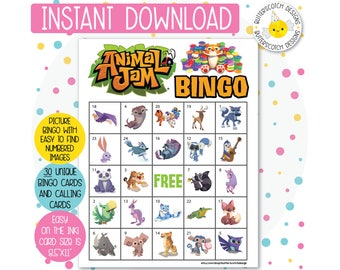 Animal Jam Printable Bingo Cards (30 Different Cards) - Instant Download