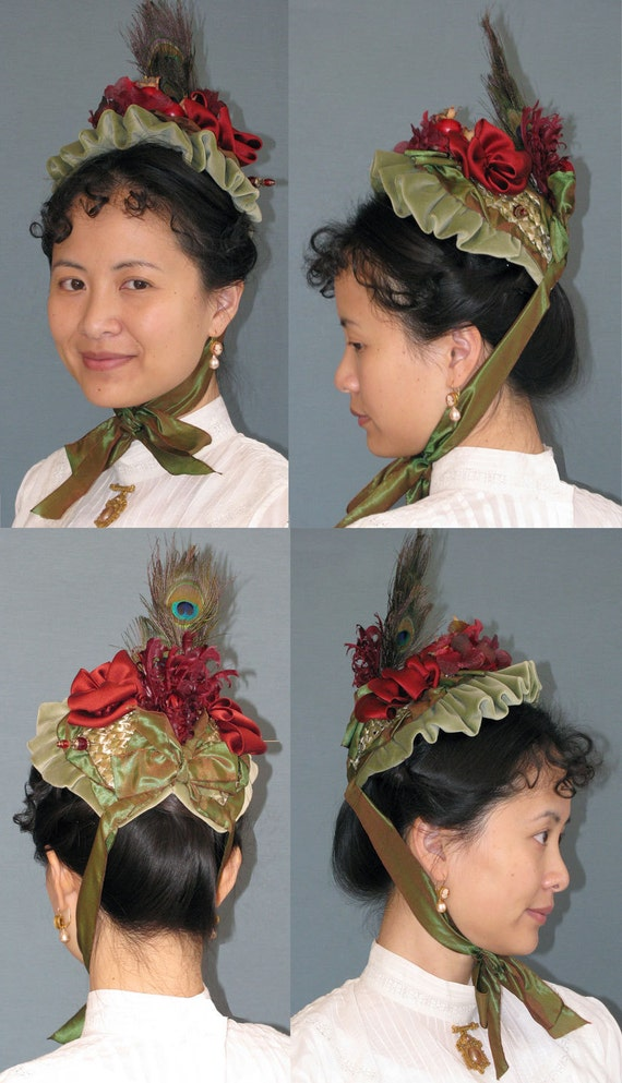 Late Victorian Small Bonnet Late 1880s Early 1890s Hat