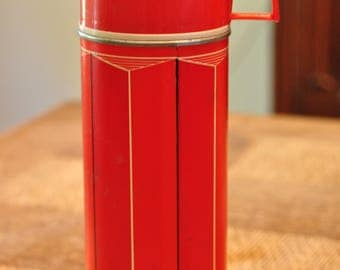 Red and Cream Striped Thermos 1974