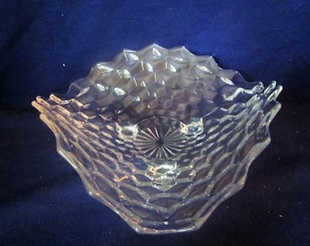 American Fostoria 3 Footed Glass Bowl , triangular fruit bowl,