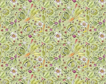 Garden Girls Goodness Green Vegetable Fabric