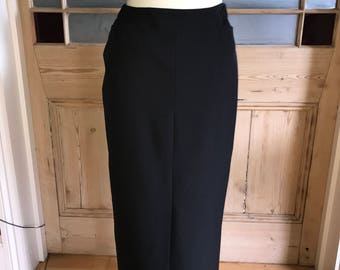 "Vintage 90s long black pencil skirt 30"" waist UK 12"