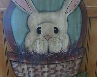 Bunny in Basket Wood Hanger
