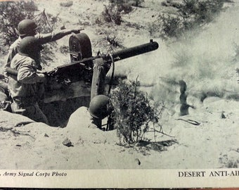 1940s Official U.S. Army Signal Corps Photo Desert Anti-Aircraft Photo Card