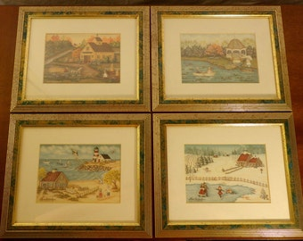 "Gail Callahan Prints 1997 4 FRAMED MATTED 5"" X 7"""