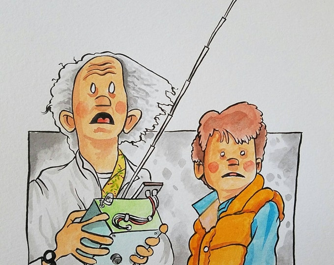 Ink and Watercolor -  Doc and Marty - Back to the Future