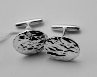 Reticulated Sterling Cuff Links