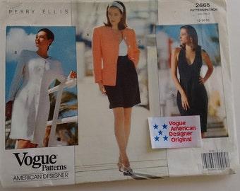 "Part UNCUT with Original Label Vogue #2665 American Designer Perry Ellis Halterneck Dress Top Jacket Sewing Pattern 3 Size Bust 34"" 36"" 38"""