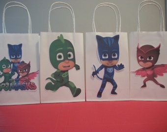 PJ Mask Party Favor Bag - Candy Bag-Treat Bag - Goodie Bag -Gift Bag -PJ Mask Boy/Girls Birthday Bag- Set of 4