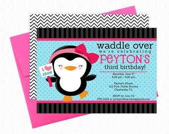 Penguin Invitation, Penguin Birthday Party, Penguin Birthday Invitation, Penguin Invite, Penguin Party, Penguin Birthday, Penguin Baby | 112