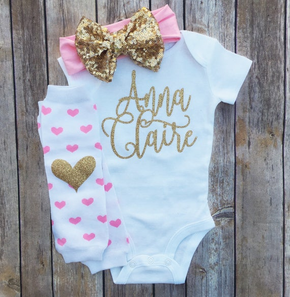Personalized Baby Girl Outfit Baby Girl Clothes Newborn Girl