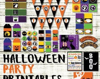 Halloween Party Printables and Decorations - Printable Cupcake Toppers, Candy Wrappers and more - 18 Pages in PDF Format - INSTaNT DOWNLoAD