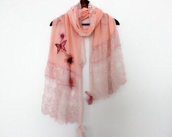 Pink lace shawl, Pink shawl, bridal shawl salmon, salmon shawl wrapping, long kadın shawl, powder pink shawl, Christmas gift woman