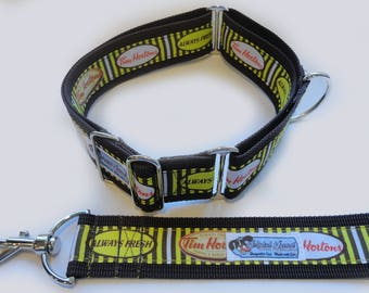 "Striped TIM HORTON'S Brown 1.5"", Martingale, Martingale-clip M, L, XL, Leash"