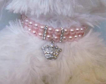 Dog/Cat Pale Pink Pearl Collar Necklace, Dog Pearl Collar, Cat Pearl Collar, Pale Pink Collar, Cat Collar Bling, Dog Collar Bling, Pet Gift