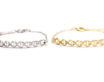 DNA Bracelet, silver or yellow gold finish, chromosome, science jewelry, biology, chemistry, helix, doctor gift, nurse gift, under 10