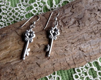 Silver Key Earrings, Skeleton Key Earrings, Key Earrings, Skeleton Key Jewelry, Made in Alaska, Sliver Drop Earrings, Dangle Earrings
