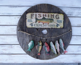 GONE FISHING Sign ~ Reclaimed Unique Round Wood Sign Wall Hanging  ~ Rustic Distressed Cabin Decor ~ Man Cave Fathers Day Fisherman