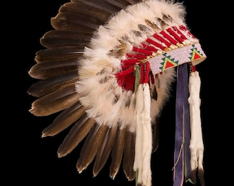 Plains style feather war bonnet / headdress