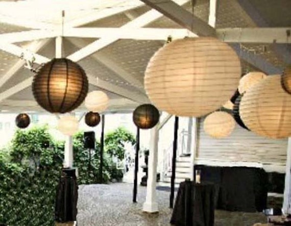 White & Black Paper Lanterns with LED Bulbs for Wedding Engagement Anniversary Birthday Party Hanging Lighting Decoration