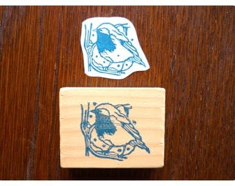 Rubber stamp retro bird