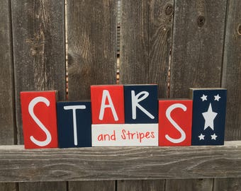 4th of July wood blocks, Stars and Stripes blocks, Stars, America