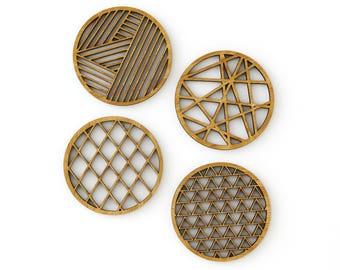Geometric Coasters Bamboo Laser-Cut (Set of 4)