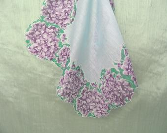 Purple violet bouquets on this floral handkerchief /  vintage linen hankie