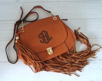 Monogram Fringe Purse - Monogrammed Brown Crossbody Bag- Personalized Purse-Personalized Bag - Gift For Her - Fringe Bag - Ships in 2Wks