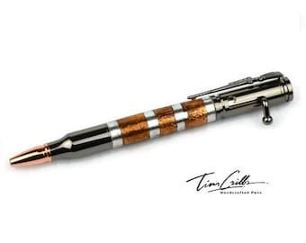 30 Cal Bolt Action Gun Metal Ballpoint Pen / Handcrafted Steampunk