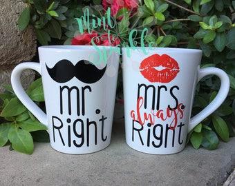 Mr. Right Mrs. Always Right Mug Set