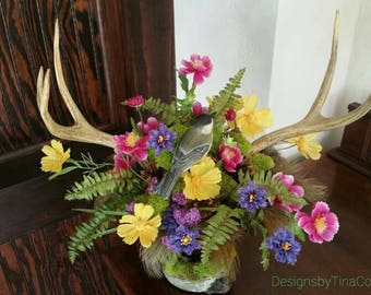 Spring and Summer Woodland Antler Floral Arrangement Easter Wedding Centerpiece