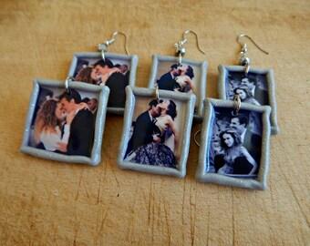 Carrie Bradshaw with Big polymer clay Earrings - SATC earrings - One pair of earrings