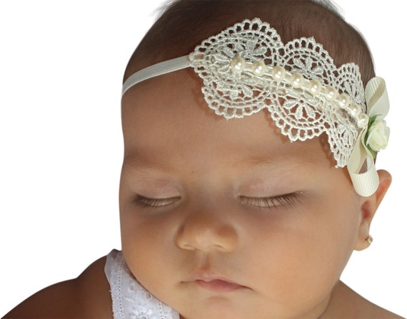 Baptism Headband, Christening Headband, Baby Headband, Newborn Headband, Baby Girl Headband, Infant Headband, Ivory Headband Pearls Headband