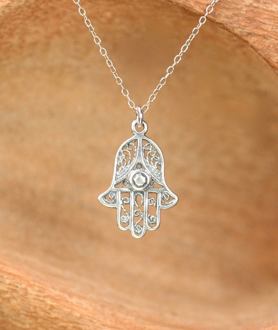 Silver hamsa necklace - gold hamsa charm - protection - amulet - a filigree silver hamsa on a sterling silver chain satellite chain