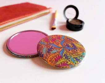 Nature Print Pocket Mirror, Girly Makeup Accessories, Colourful Compact Mirror, Colourful Travel Mirror, Tropical Print Compact Mirror,