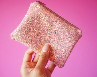 Light Pink Glitter Coin Purse, Sparkly Pink Glitter Coin Pouch, Pastel Pink Glitter Purse, Pink Glitter Zipped Pouch, Sparkly Purse,