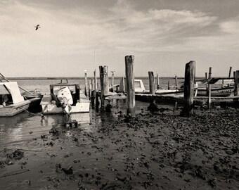 Apalachicola Florida, Oyster Skiff Fishing Boats, Black & White Photo, Black and White Florida Photography - Limited Edition Photo Print