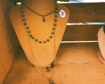 Malachite and Gold Multi Layer Necklace - Suede Tibetn Brass Choker - Hand Wrapped Synthetic Malachite Rosary - Tusk Necklace