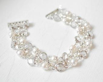 Crystal Bridal Bracelet, Cubic Zirconia Wedding Bracelet, Bridal Jewelry