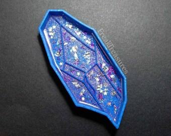 Aura quartz resin tray, crystal tray, jewelry tray iridescent holographic.