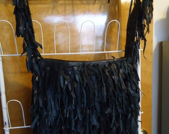 Black Leather Shoulder, Cross Body, Fringe Purse/Handbag