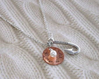 Fisher of Men Necklace- Christian, Faith, Hand Stamped Jewelry- Matthew 4:19