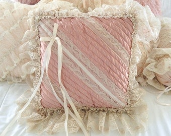 Vintage lace pillow frilly ruffles bed boudoir cushion pink quilted satin cream lace romantic decor shabby bedding ribbon bow