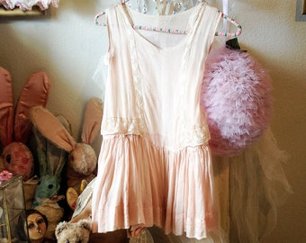Vintage girls pink flapper dress antique lace child sheer gown shabby romantic display prop
