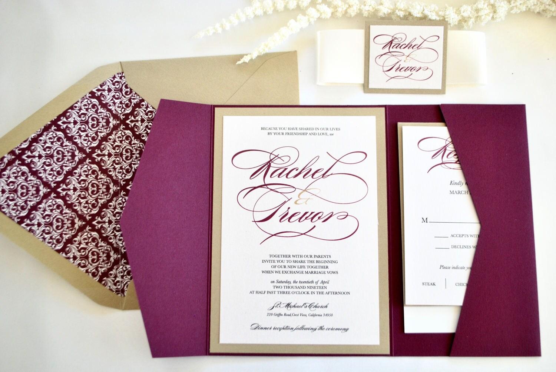 Burgundy And Gold Wedding Invitations: Burgundy Gold Marsala Pocket Wedding Invitation-Dreamy NOT